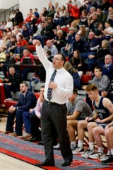 Central Catholic head coach Dave Barrett motions during the fourth quarter of an IHSAA boys basketball game, Friday, Feb. 14, 2020 in West Lafayette.