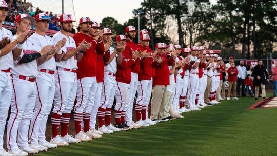 The Cajuns baseball team wears