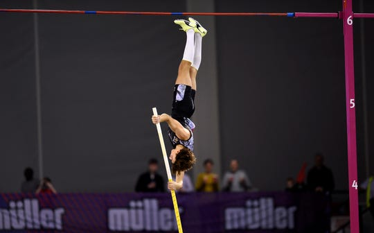 Sweden's Armand Duplantis breaks the world record height in the Pole Vault , during the Glasgow Indoor Grand Prix at the Emirates Arena, in Glasgow, Scotland, Saturday, Feb. 15, 2020.