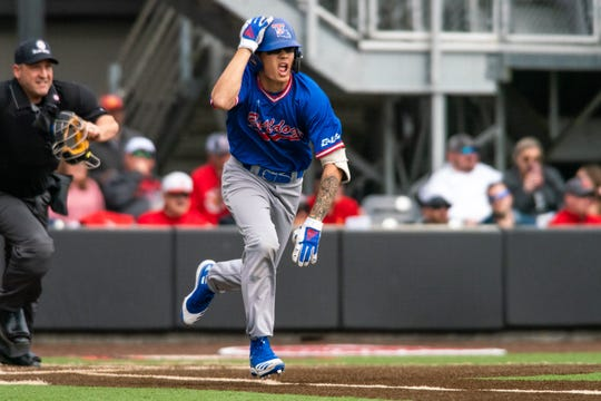 Louisiana Tech's Alex Ray sprints to first base as the Ragin' Cajuns take on the Louisiana Tech Bulldogs at M.L. Tigue Moore Field on Saturday, Feb. 15, 2020.