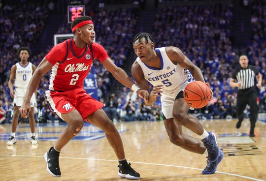 """Kentucky's Immanuel Quickley had 17 points with three rebounds in the Wildcats' 67-62 win over Ole Miss Saturday afternoon at Rupp Arena. """"Just knowing that we can still win games when we aren't shooting, you know our defense can come through for us and that's really what its about,"""" said Quickley afterwards. Feb. 15, 2020"""