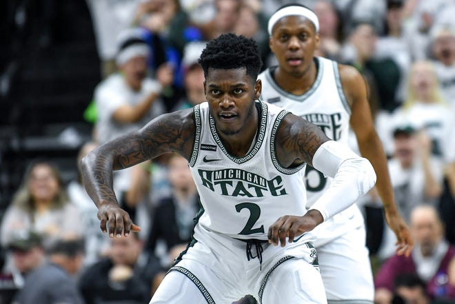 Michigan State's Rocket Watts gets back on defense after a Cassius Winston 3-pointer during the first half on Saturday, Feb. 15, 2020, at the Breslin Center in East Lansing.