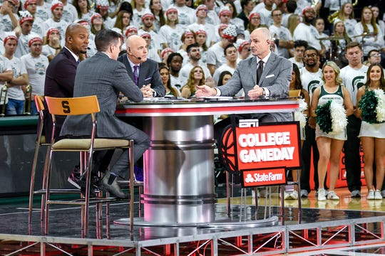 From left, hosts Rece Davis, LaPhonso Ellis, Seth Greenberg and Jay Bilas talk during a broadcast of ESPN's College GameDay on Saturday, Feb. 15, 2020, at the Breslin Center in East Lansing.