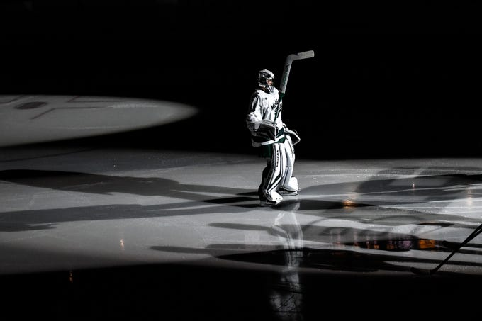 Michigan State's goalie John Lethemon is introduced before the Spartans game against Michigan on Friday, Feb. 14, 2020, at the Munn Ice Arena in East Lansing.