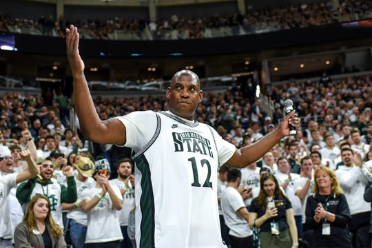 Michigan State's football coach Mel Tucker is introduced during a timeout in the first half on Saturday, Feb. 15, 2020, at the Breslin Center in East Lansing.