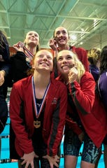 The crew of (clockwise from top left) Riley Lewis, Reyna Hoffman, Kassie Stine and Rylie White has qualified for the state swim meet in the 200 and 400 freestyle relays. Two weeks ago, this team broke the sectional meet record in the 200 free with a 1:42.42