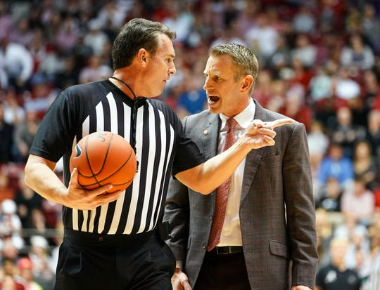 Feb 15, 2020; Tuscaloosa, Alabama, USA; Alabama Crimson Tide head coach Nate Oats has a conversation with the official during the first half against LSU Tigers at Coleman Coliseum. Mandatory Credit: Marvin Gentry-USA TODAY Sports