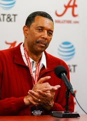 Feb 15, 2020; Tuscaloosa, Alabama, USA; Wendell Hudson former player and coach talks to the media about what has changed in 50 years since he was the first black American to receive a scholarship at the University of Alabama prior to the game against LSU Tigers at Coleman Coliseum. Mandatory Credit: Marvin Gentry-USA TODAY Sports
