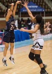 Montgomery Academy's Gabby Ramirez (24) takes a jump shot during the Class 3A girls Southeast Regional semifinal at Garrett Coliseum in Montgomery, Ala., on Saturday, Feb. 15, 2020.