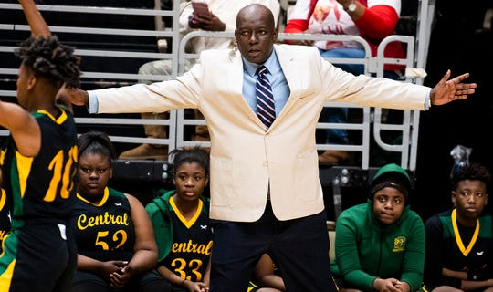 Central-Hayneville coach Terry Thomas coaches against Washington County during AHSAA regional basketball action in Montgomery, Ala., on Friday February 14, 2020.