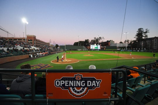 A view of Auburn's opening day game against Illinois-Chicago at Plainsman Park on Feb. 14, 2020.