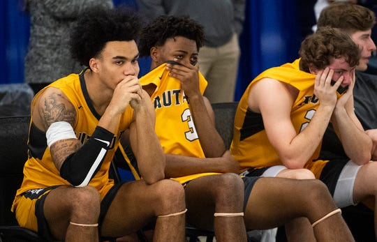 Autauga Academy's Tae Palmer (14), Kyrin Long (3) and  Tucker Gibbons (23) after three loss to Lakeside in AISA State Championship action in Montgomery, Ala., on Saturday February 15, 2020.