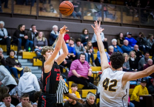 Monroe Central faces off against Wapahani during their game at Monroe Central High School Friday, Feb. 14, 2020.