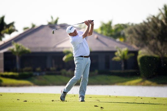 Fred Couples drives the ball during the second round of the Chubb Classic at The Classics at Lely Resort on Saturday, February 15, 2020.
