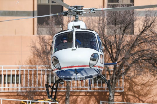 Sebastian Teran flies in a helicopter at Memorial Medical Center on Saturday, Feb. 15, 2020.