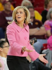 Arizona State Sun Devils head coach Charli Turner Thorne argues a call during a women's basketball game against the Washington State Cougars at ASU Desert Financial Arena in Tempe on February 14, 2020.