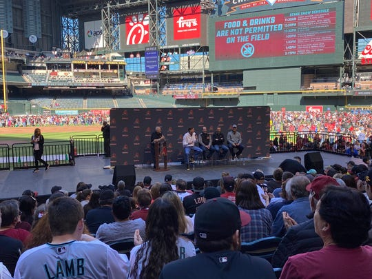 Diamondbacks legends Randy Johnson, Bob Brenly, Mark Grace and Luis Gonzalez partake in a Q&A session on-stage at Chase Field at the D-backs 2020 Fan Fest Saturday, Feb. 15.
