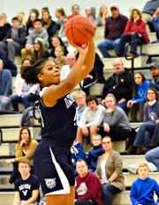 Dallastown's Bria Beverly shoots the ball on the half time buzzer during YAIAA girls' basketball championship action against Gettysburg at Grumbacher Sport and Fitness Center at York College of Pennsylvania in Spring Garden Township, Friday, Feb. 14, 2020. Dawn J. Sagert photo