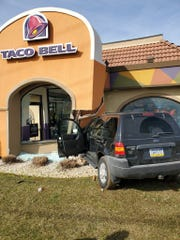 An SUV driven by Jessica Winand crashed into the Taco Bell in Manchester Township just after noon on Saturday, Feb. 15, 2020, according to Northern Regional Police, who allege Winand was huffing a canister of compressed air before crashing with her two 3-year-old sons in her SUV.