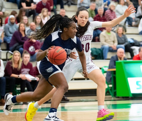 D'Shantae Edwards (5) brings the ball up during the YAIAA girls title game between Dallastown and Gettysburg in the Charles Wolf Gym at York College, Friday, February 14, 2020. The Wildcats defeated the Warriors 42-38.