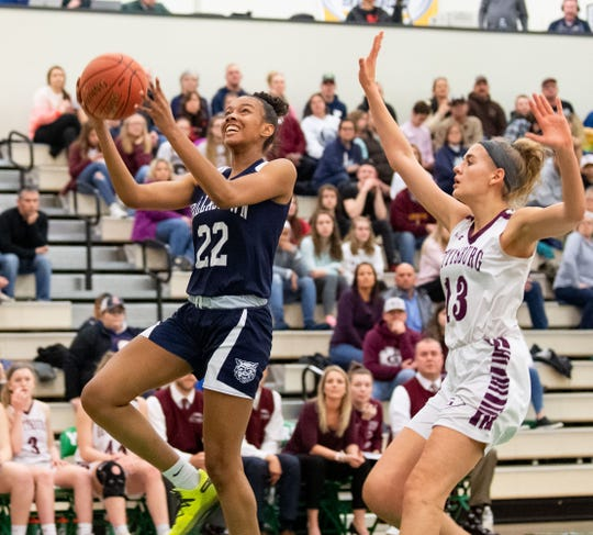 Aniya Matthews (22) lays up during the YAIAA girls title game between Dallastown and Gettysburg in the Charles Wolf Gym at York College, Friday, February 14, 2020. The Wildcats defeated the Warriors 42-38.