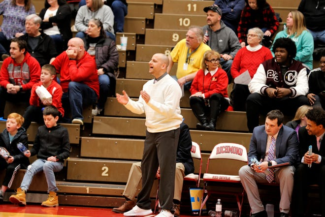 Richmond head coach Shabaz Khaliq earned his 200th career victory with a 62-36 win over Kokomo on Friday, Feb. 14, 2020.