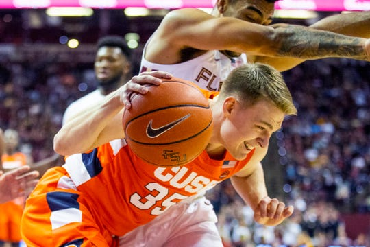 Syracuse guard Buddy Boeheim (35) tries to bring the ball out from under the basket after an offensive rebound in the first half of an NCAA college basketball game against Florida State in Tallahassee, Fla., Saturday, Feb. 15, 2020. Boeheim did not score a point and Syracuse lost 80-77.