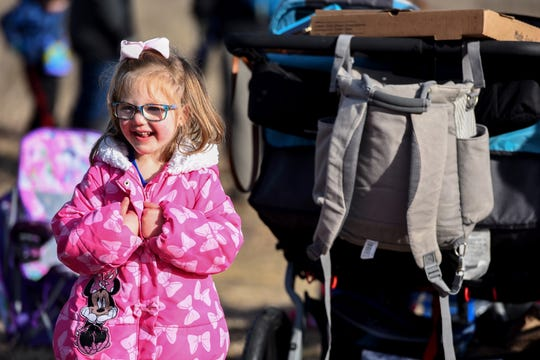 Audrey O'Donnell, 4, is giddy with emotion after NG-13 mission launch is successful at NASA Wallops on Feb. 15, 2020. Her family attended each scheduled launch, and third time's the charm.