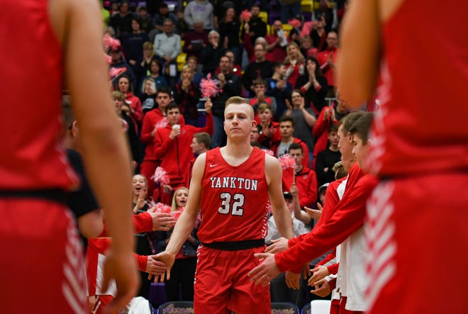 Yankton's Matthew Mors is introduced in the starting lineup for a game against Watertown on Friday, Feb. 14, at the Watertown Civic Arena.