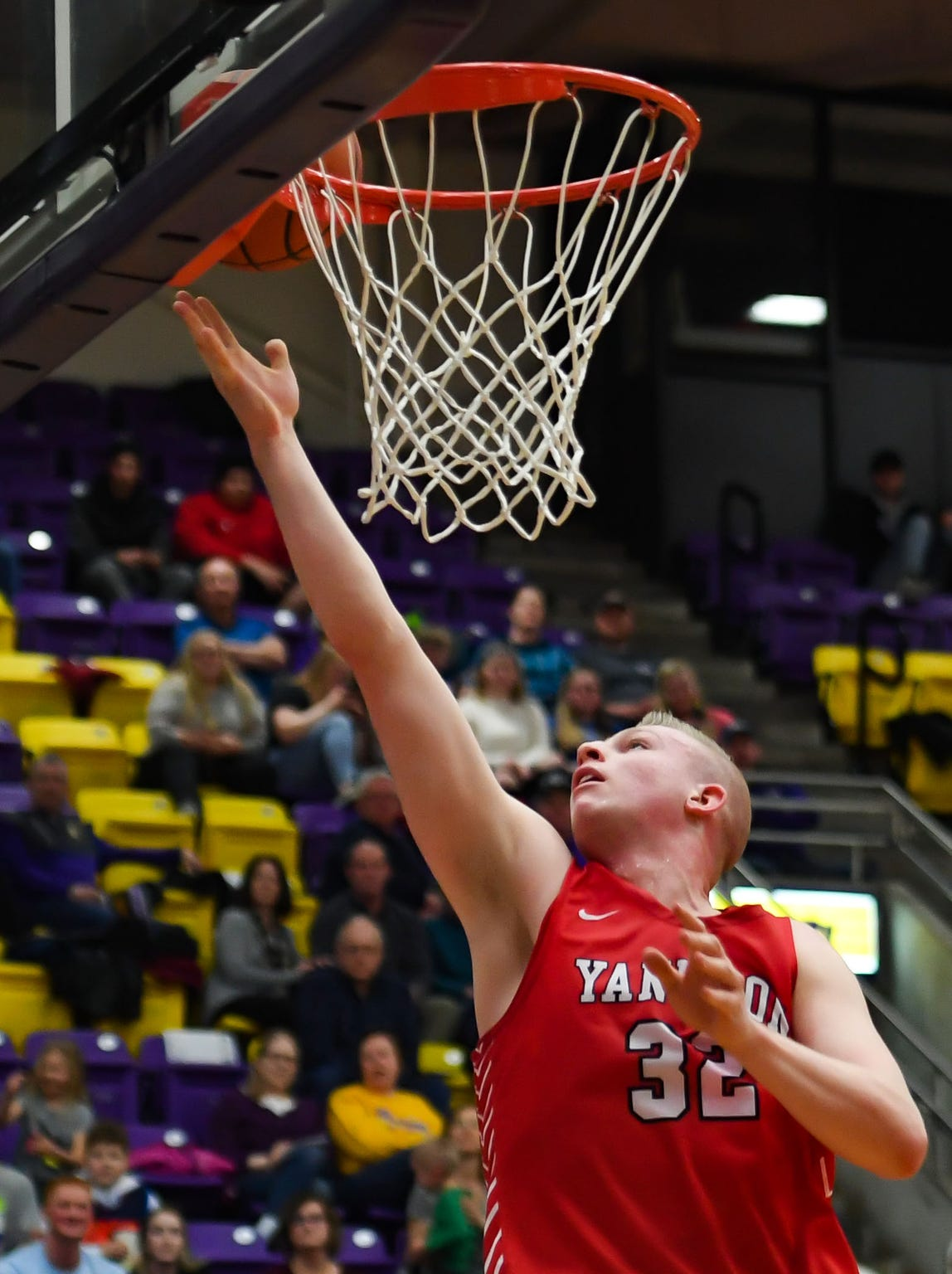 Yankton's Matthew Mors hits a layup to break Eric Kline's class AA all-time scoring record on Friday, Feb. 14, at the Watertown Civic Arena.