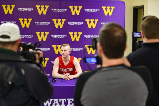 Yankton's Matthew Mors speaks at a press conference after breaking Eric Kline's class AA all-time scoring record on Friday, Feb. 14, at the Watertown Civic Arena.