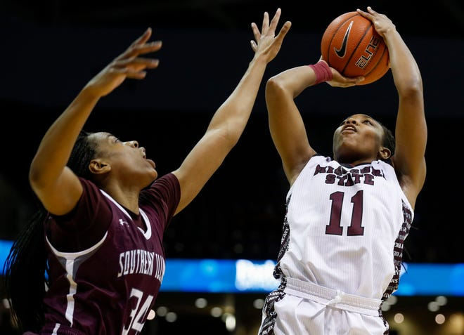 Brice Calip, of Missouri State, puts up a shot during the Lady Bears game against Southern Illinois at JQH Arena on Saturday, Feb. 15, 2020.