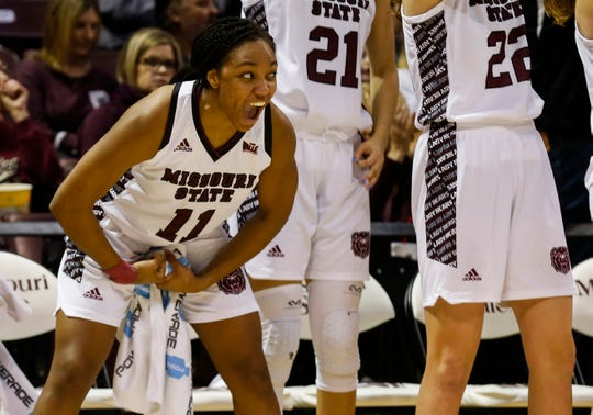 Brice Calip (11) and the Missouri State bench celebrate during the Lady Bears' 88-57 win over Southern Illinois at JQH Arena on Feb. 15.