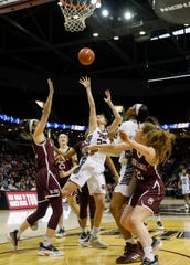 Alexa Willard, of Missouri State, puts up a shot during the Lady Bears game against Southern Illinois at JQH Arena on Saturday, Feb. 15, 2020.
