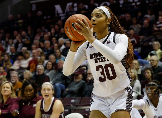 Shameka Ealy, of Missouri State, lines up a three-point shot during the Lady Bears game against Southern Illinois at JQH Arena on Saturday, Feb. 15, 2020.