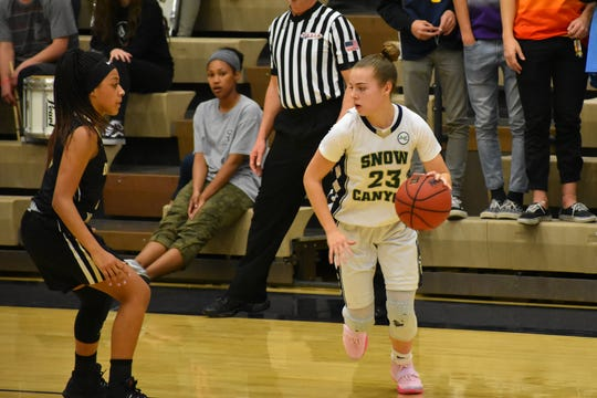 Snow Canyon's Olivia Harris looks for an opening against Desert Hills.