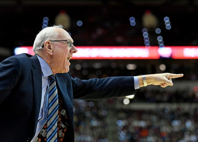 Feb 15, 2020; Tallahassee, Florida, USA; Syracuse Orange head coach Jim Boeheim during the first half against the Florida State Seminoles at Donald L. Tucker Center. Mandatory Credit: Melina Myers-USA TODAY Sports