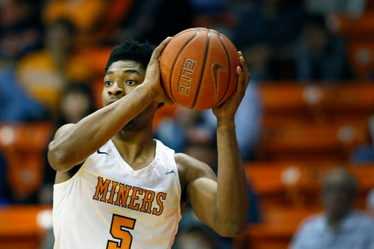 UTEP's Deon Stroud during the game against Marshall Saturday, Feb. 15, at the Don Haskins center in El Paso.