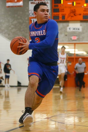 Canutillo's Izaiah Chavez during the game against El Paso High Friday, Feb. 14, at El Paso High in District 1-5A basketball.