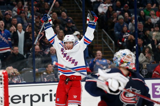 New York Rangers' Ryan Strome celebrates a Rangers goal against the Columbus Blue Jackets during the third period of an NHL hockey game Friday, Feb. 14, 2020, in Columbus, Ohio. The Rangers won 3-1. (AP Photo/Jay LaPrete)