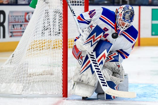 Feb 14, 2020; Columbus, Ohio, USA; New York Rangers goaltender Alexandar Georgiev (40) makes a save in net against the Columbus Blue Jackets in the second period at Nationwide Arena. Mandatory Credit: Aaron Doster-USA TODAY Sports