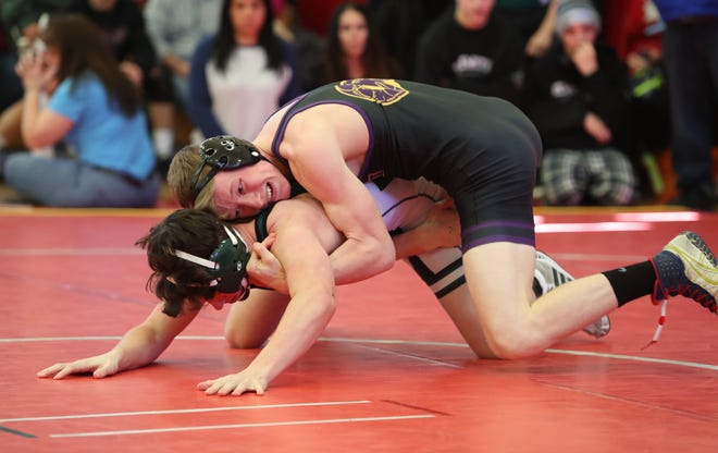 Clarkstown North's Ryan Stern werstles Jacob Hamlin of Brewster in a 138-pound quarterfinal match during the Section 1, Division 1 wrestling tournament at Sleepy Hollow High School in Tarrytown on Saturday, February 15, 2020.