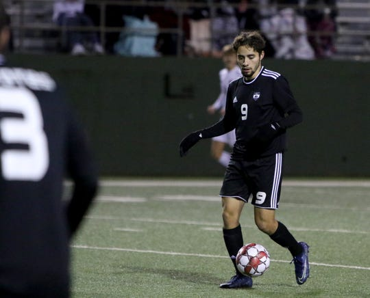 Wichita Falls High's Luis Camacho dribbles in the game against Aledo Friday, Feb. 14, 2020, at Memorial Stadium.
