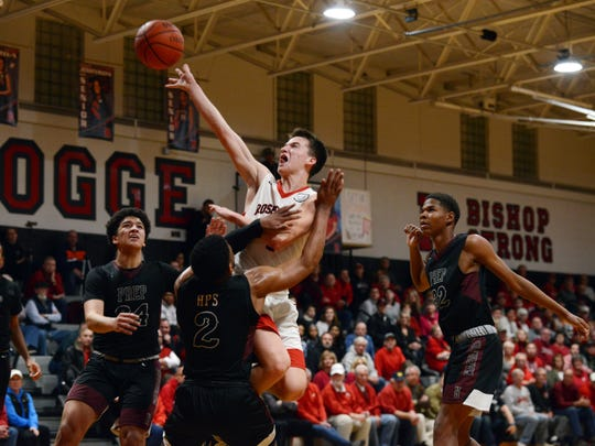 Jack Goggin flies through the lane for a shot during Rosecrans' 72-59 loss to Canal Winchester Harvest Prep on Friday night at Rogge Gymnasium.