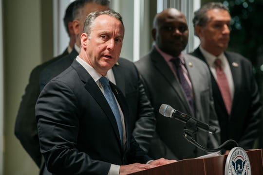 Immigration and Customs Enforcement Acting Director Matthew Albence speaks at a press conference on January 17, 2020 in New York City. In his remarks, Albence decried Sanctuary City policies that bar local law enforcement from working with ICE to apprehend undocumented persons.