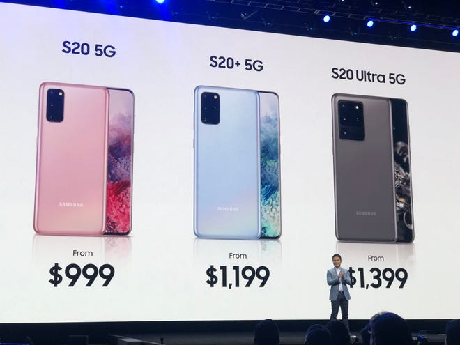 Showing off the new pricing of Samsung Galaxy S phones at a company event