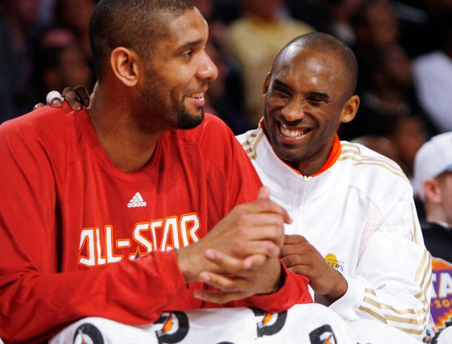Tim Duncan and Kobe Bryant during the 2009 All-Star Game.