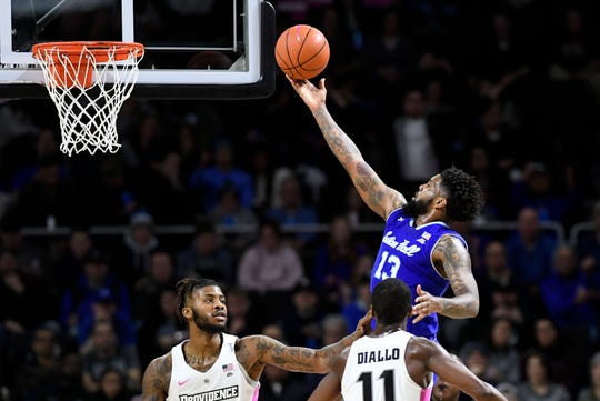 Seton Hall Pirates guard Myles Powell (13) attempts a layup against the Providence Friars during the second half at the Dunkin Donuts Center.