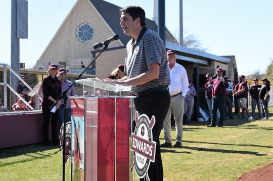 McMurry vice president for student affairs and intercollegiate athletics Sam Ferguson speaks during the dedication of Edwards Field on Feb. 16. The first season for the softball team in its new home was cut short, but the seniors will have the option to return after the NCAA announced spring sport athletes would be given another year of eligibility.