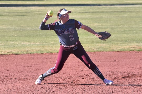 McMurry shortstop Mikayla Krause (11) throws to first for an out during a 1-0 win against Southwestern in the inaugural game at Edwards Field. Krause is one of six seniors on the War Hawks roster that will have the option to return next season after the NCAA granted spring sport athletes another year of eligibility.